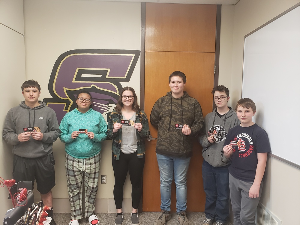 SHS Perfect Attendance Lottery Winners for Week of 3/13/2020
