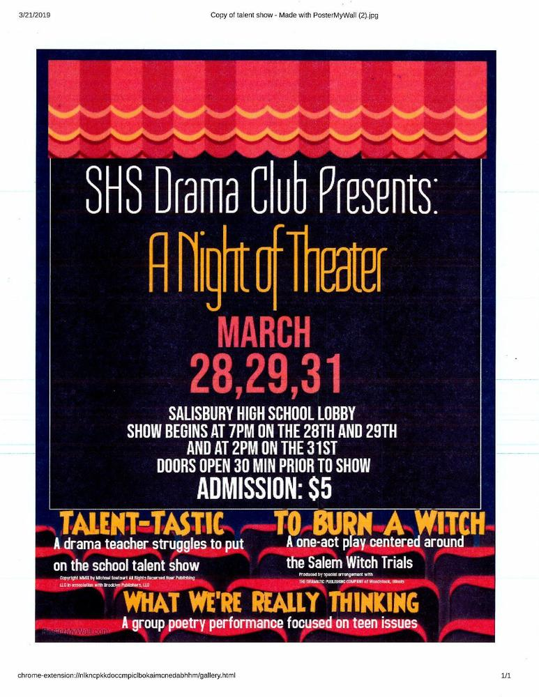 The SHS Drama Club Hosts the Spring Play This Week