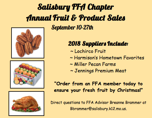 Salisbury FFA Begin Annual Fruit & Product Sales