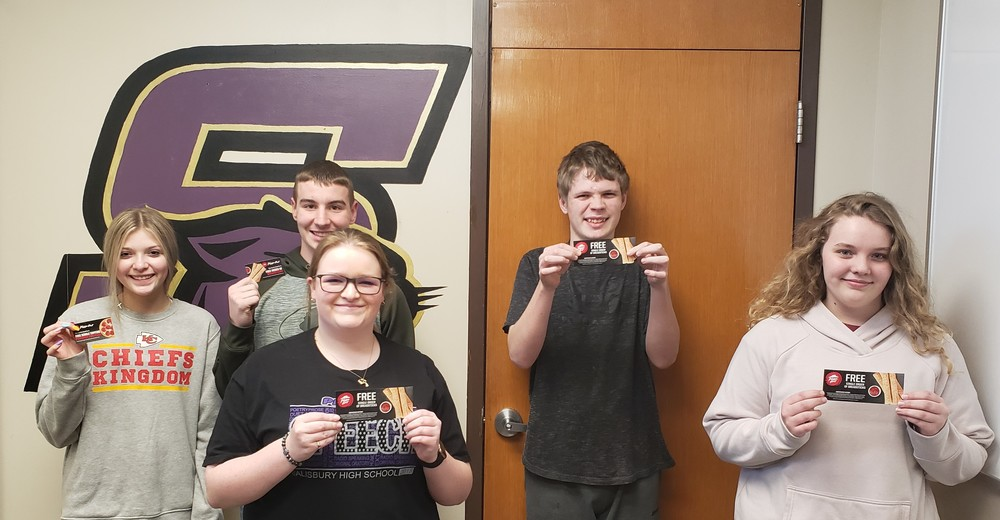 SHS Perfect Attendance Lottery Winners for Week of 3/6/2020