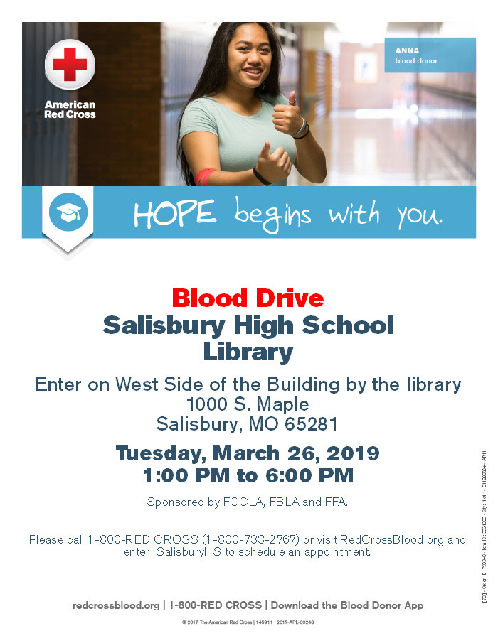 Salisbury FBLA, FCCLA, and FFA to Sponsor Blood Drive