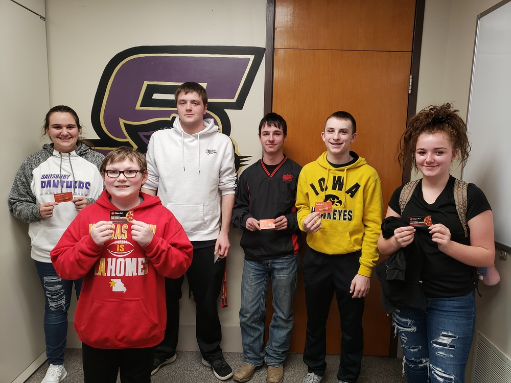 SHS Perfect Attendance Lottery Winners for Week of 2/7/2020